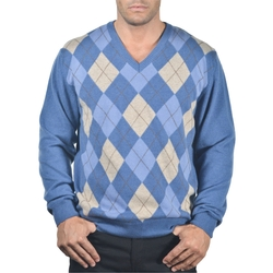 Enzo Mantovani - Cashmere V-Neck Argyle Sweater