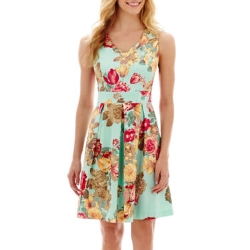 Tiana B.  - Sleeveless V-Neck Floral Print Fit-and-Flare Dress