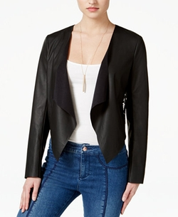 Guess - Faux-Leather Lace-Back Flyaway Jacket