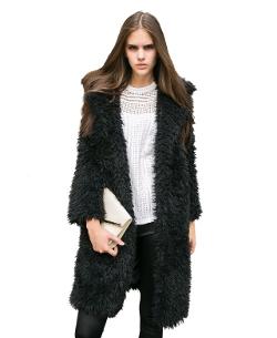 Chic Nova - Lapel Collar Faux Fur Coat