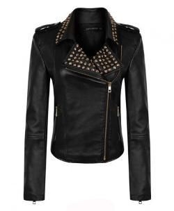 Chicnova - Stud Leather Biker Jacket