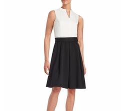 Ellen Tracy - Belted Colorblocked Dress