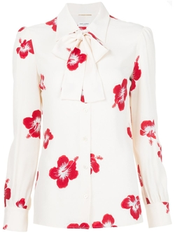 Saint Laurent - Hibiscus Floral Neck Tie Blouse