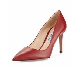 Prada - Leather Pointed-Toe Pumps