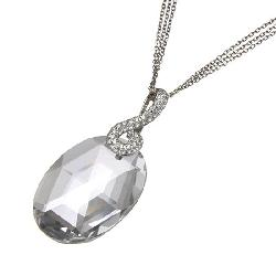 Devon Fine Jewelry -  White Gold Rock Crystal Pendant with Diamonds
