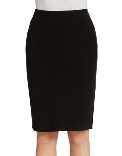 Eileen Fisher  - Silk Blend Knit Straight Skirt