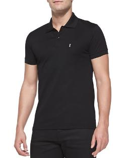 Saint Laurent	  - Pique Logo Polo Shirt