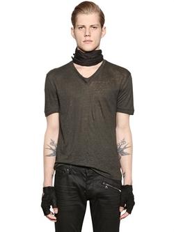 John Varvatos - V Neck Linen Jersey T-Shirt