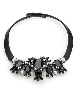 Givenchy  - Crystal & Leather Collar Necklace