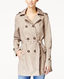 Celebrity Pink - Double-Breasted Belted Trench Coat