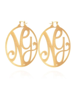 K Kane - Monogram Signature Hoop Earrings