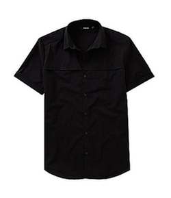 Murano  - Short-Sleeve Slim Solid Front Pocket Shirt