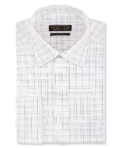 Donald J. Trump  - Non-Iron White and Grey Check French Cuff Shirt