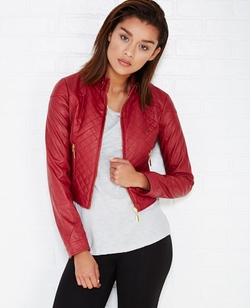 Wetseal - Quilted Faux Leather Moto Jacket With Mock Neck