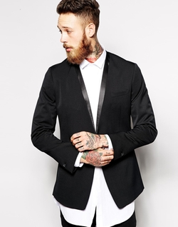 Asos  - Slim Fit Collarless Blazer