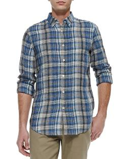 Vince  - Plaid Button-Down Linen Shirt, Herring