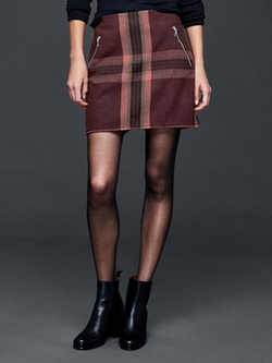 Gap - Wool Plaid Zip Mini Skirt