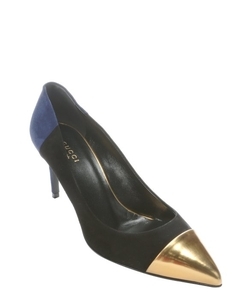Gucci  - Colorblock Suede Metallic Cap Toe Pumps