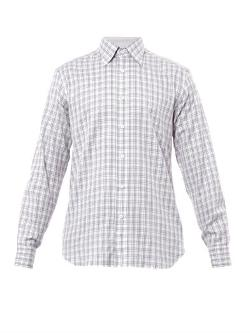 Brioni  - Check-Print Cotton Shirt