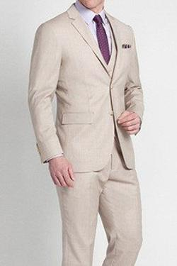 Indochino - Tonal Beige Shadow Stripe Three-piece Suit