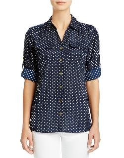 Jones New York  - Polka Dot Roll Sleeve Blouse