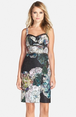 Nicole Miller - Embellished Floral Print Scuba Backed Lace Sheath Dress