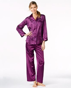 Miss Elaine  - Brushed Back Satin Notch Collar Pajama Set