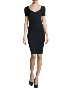 St. John   - Santana Knit Short-Sleeve Sheath Dress