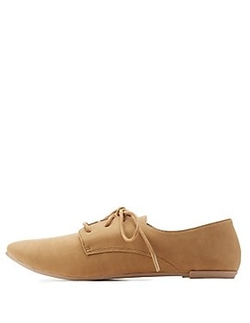 Charlotte Russe - Qupid Lace Up Flat Oxford Shoes