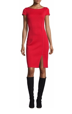 St. John Collection  - Milano Boat-Neck Cap-Sleeve Sheath Dress