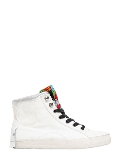 Crime - Cotton Canvas Hi Top Sneakers