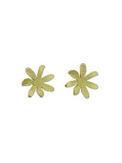 Himatsingka - Flat Gold Flower Studs