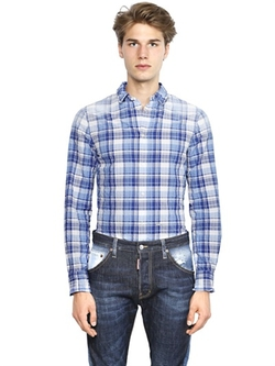 Dsquared2 - Faded Plaid Cotton Seersucker Shirt