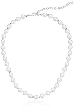 Napier  - Silver-Tone White Simulated Pearl Collar Necklace