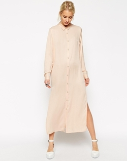 Asos White - Long Sleeves Silk Blend Shirt Dress