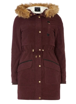 Dorothy Perkins - Raisin Red Luke Parka Jacket