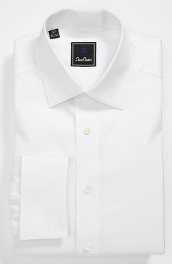 David Donahue  - Tonal Solid Regular Fit Tuxedo Shirt
