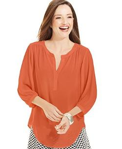 Karen Kane  - Three-Quarter-Sleeve Pleated Peasant Blouse