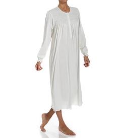 P. Jamas  - Flora Smocked Long Sleeve Nightgown