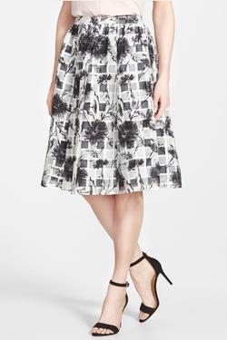Halogen  - Floral & Check Full Midi Skirt