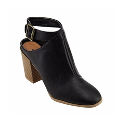 Qupid - Ankle Strap Cutout Chunky Stacked Booties