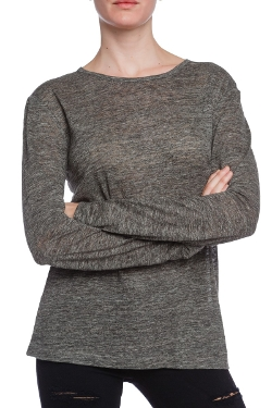T by Alexander Wang - Long Sleeve Linen Tee Shirt