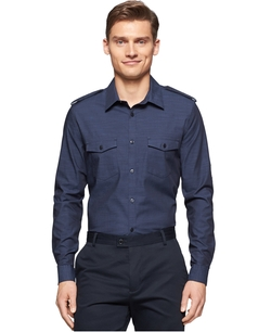 Calvin Klein - Slub Twill Double Pocket Long-Sleeve Button-Down Shirt