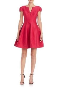 Halston - Heritage Cap-Sleeve Sateen Dress