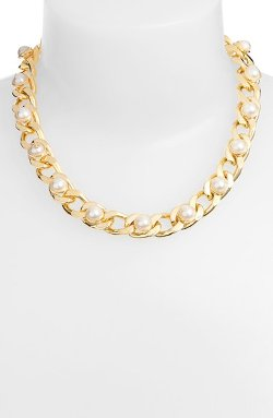 Tory Burch - Winchel Faux Pearl Chain Necklace