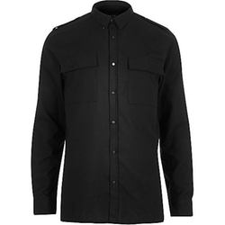 River Island - Black Military Two Pocket Shirt