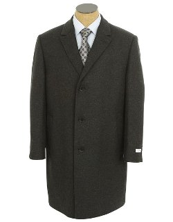 Calvin Klein  - Mens Charcoal Gray Wool Blend Long Over Coat Jacket