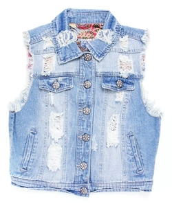 Vanilla Star Denim - Kill Switch Light-Wash Distressed Button-Up Vest