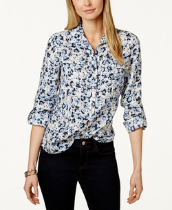 Charter Club  - Floral-Print Linen Shirt