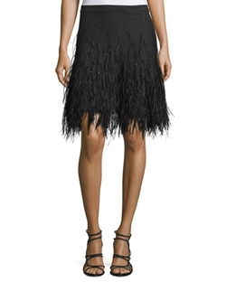 Micahel Kors Collection - Feather-Embellished Cashmere Skirt